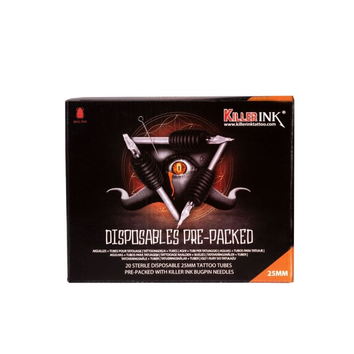 20 stk. Assortert Blanding Killer Ink engangsgrep/Tip 25mm Tubes komplett med Bug Pin 0.25mm tatoveringsnål
