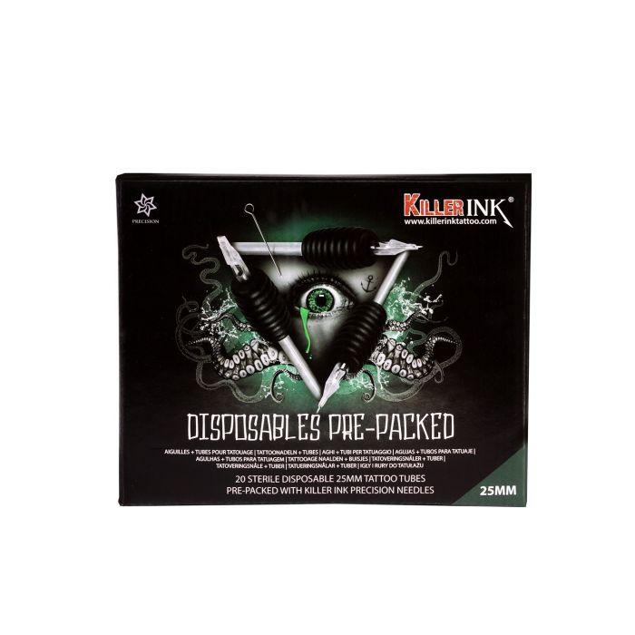 20 stk. Assortert Blanding Killer Ink engangsgrep/Tip 25mm Tubes komplett med Killer Ink Precision 0.35mm tatoveringsnål