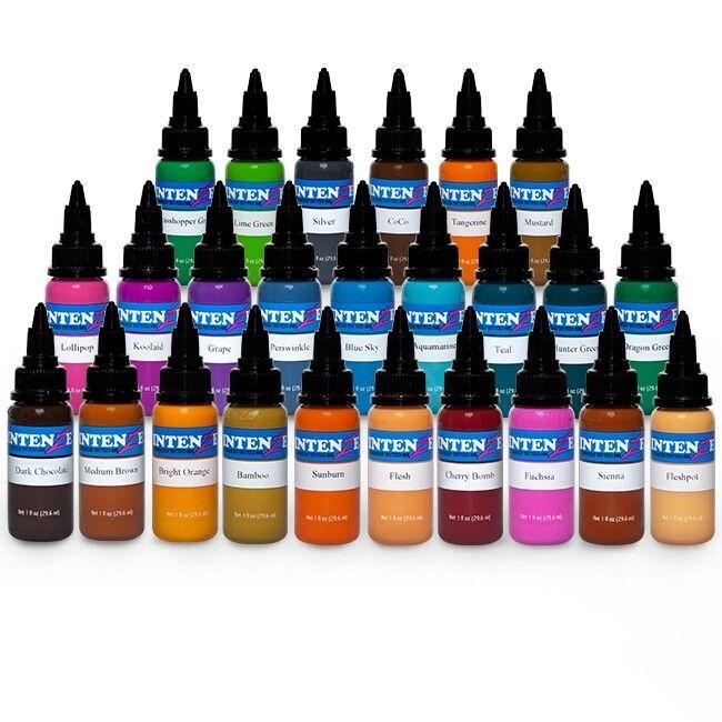 Komplett sett med 25 stk. Intenze Ink nye farger 30ml (1oz)